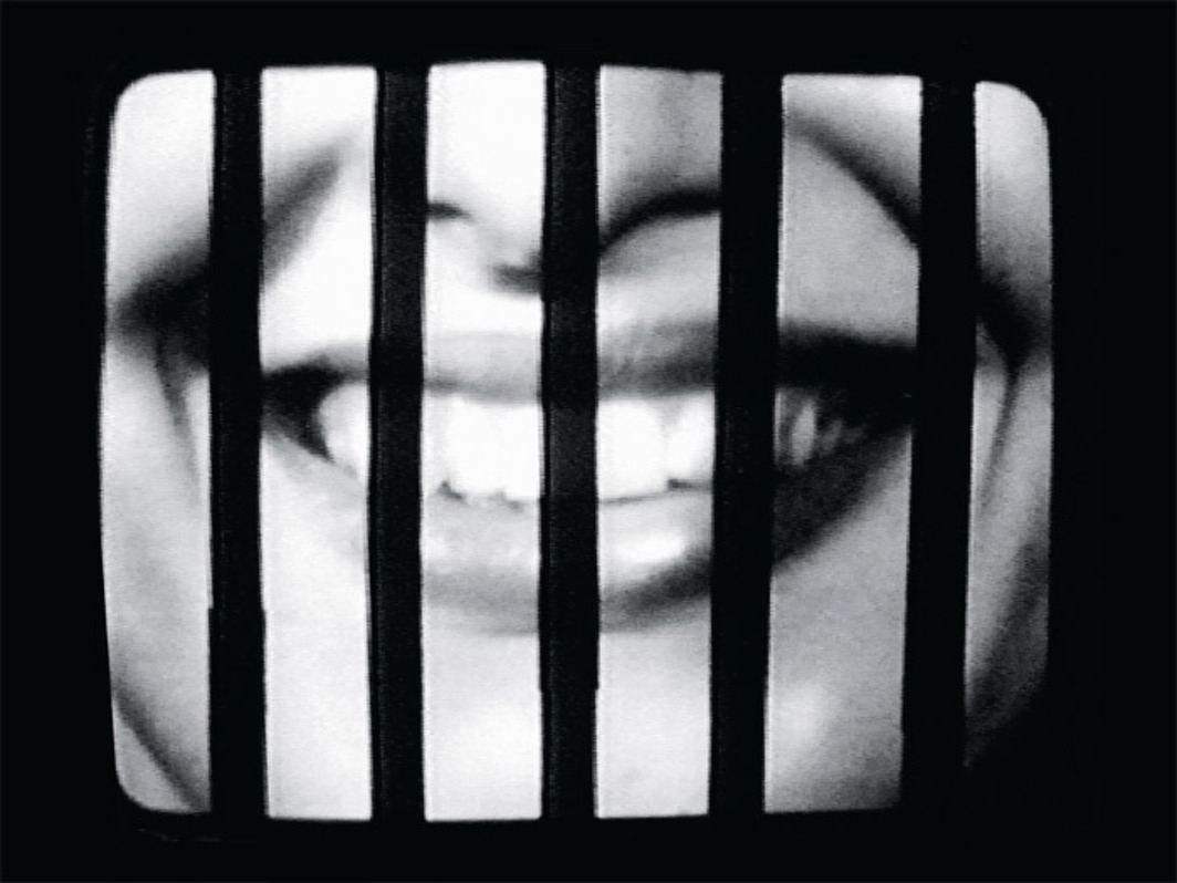 Sanja Iveković, Sweet Violence, 1974, still from a black-and- white video, 5 minutes 56 seconds.
