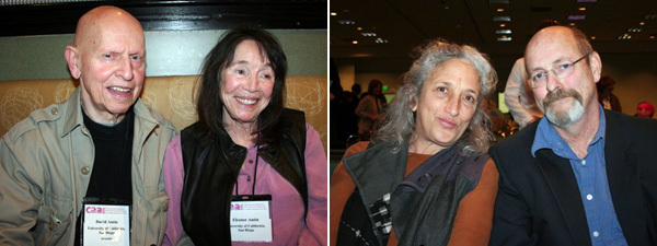 Left: Critic David Antin and artist Eleanor Antin. Right: Art historian Sally Stein and artist Allan Sekula.