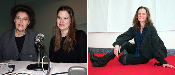Left: Artist Mary Kelly with Johanna Burton, director of the graduate program at CCS Bard. Right: Artist Andrea Bowers.