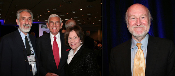 Left: Emmanuel Lemakis, director of the College Art Association conference, with Eli Broad and Edythe Broad. Right: Rocco Landesman, chairman of the National Endowment for the Arts.