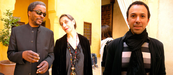Left: Curators Simon Njami and Catherine David. Right: Dar al-Ma'mûn library director Omar Berrada.