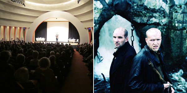 "Left: A view of ""Tarkovsky Interruptus"" at the New School, March 10, 2012. Right: Andrei Tarkovsky, Stalker, 1979, color film in 35 mm, 163 minutes. Production still."