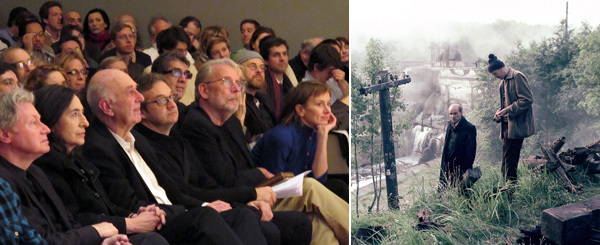"Left: Robert Polito, Francine Prose, Phillip Lopate, Michael Benson, Walter Murch, and Dana Stevens at ""Tarkovsky Interruptus"" at the New School, March 10, 2012. Right: Andrei Tarkovsky, Stalker, 1979, color film in 35 mm, 163 minutes. Production still."