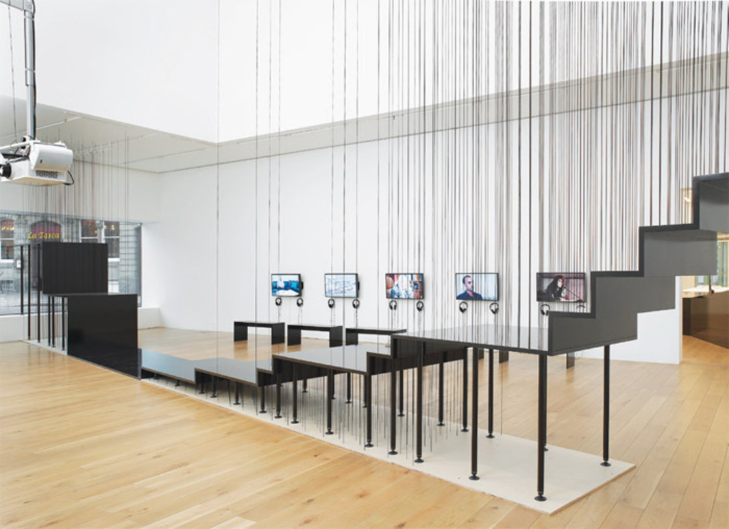 Decolonizing Architecture/Art Residency, Common Assembly, 2011–12, plywood, steel, aluminum, nylon cable, video. Installation view.