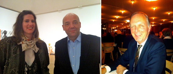 Left: Musee d'Art Moderne de la Ville curator Ann Dressen and director Fabrice Hergott. Right: Dealer Anthony Reynolds.