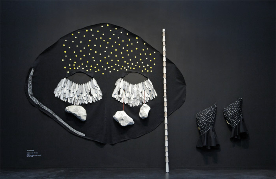 "Matthew Ronay, Double Cloak of Stars, 2009, cotton, nylon-waxed cord, fiber rush, plastic, walnut, papier-mâché, paint, plaster, cotton, gold leaf, 8' 5"" x 12' x 10"". From ""Secret Societies."""