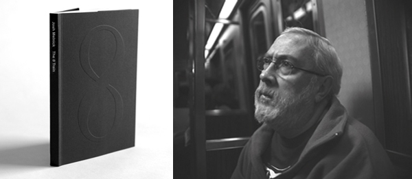 Left: Cover of The 8 Train (2012). Right: Josh Melnick, The 8 Train, 2008–2009, still from a black-and-white film, 5 minutes.