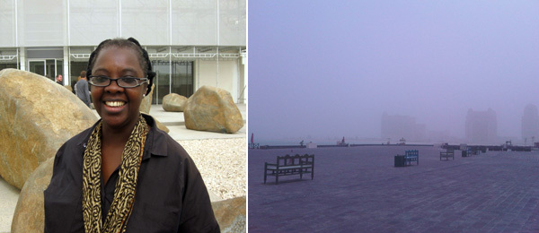 Left: CCA Lagos curator Bisi Silva. Right: Doha in a sandstorm.
