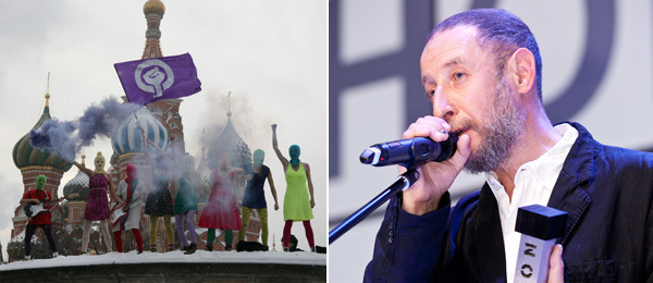 "Left: Members of Pussy Riot in Moscow's Red Square performing the ""Putin Pissed Himself"" song. (Photo: Anna Artemyeva). Right: Artist Alexander Brodsky. (Photo: Artem Savateev)"