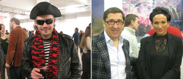 Left: Artist Andrey Kuzkin. Right: Regina Gallery's Vadim Ovcharenko with Innovation MC, Aidan Gallery's Aidan Salakhova.