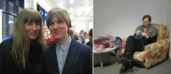 Left: Artist Linda Hilfling and Kristoffer Gansing, artistic director of Transmediale 2012. Right: Innovation nominee Where the Dogs Run.