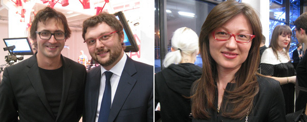Left: Hermitage 20/21 curator Dmitry Ozerkov and Moscow Museum of Modern Art director Vasily Tsereteli. Right: Winzavod director Elena Panteleeva.