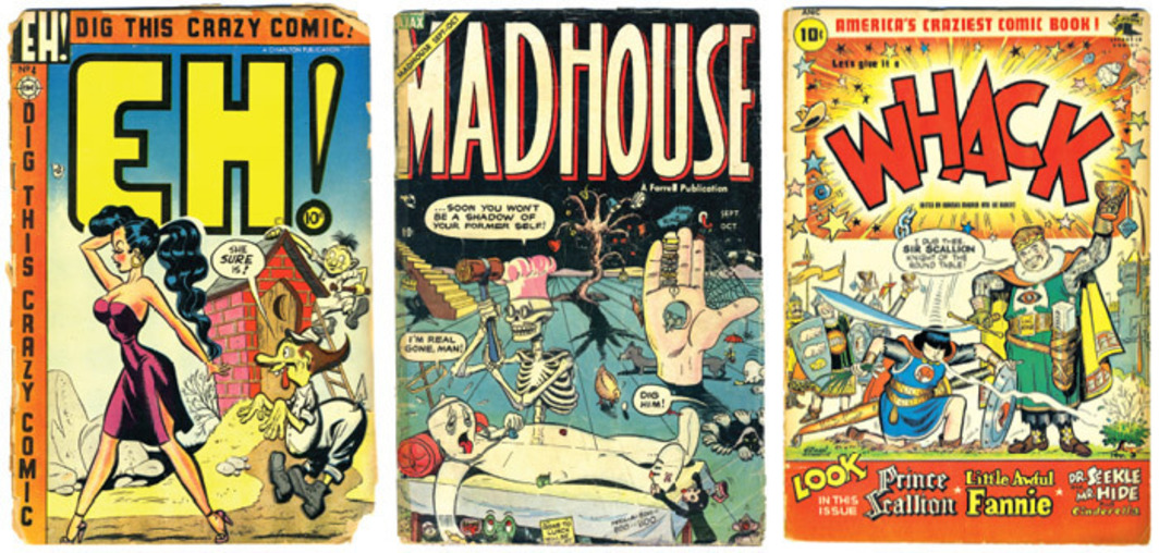 From left: Cover of Eh! #4 (June 1954). Artist unknown. Cover of Madhouse #4 (September/October 1954). Iger Studio. Cover of Whack #3 (May 1954). Norman Maurer.