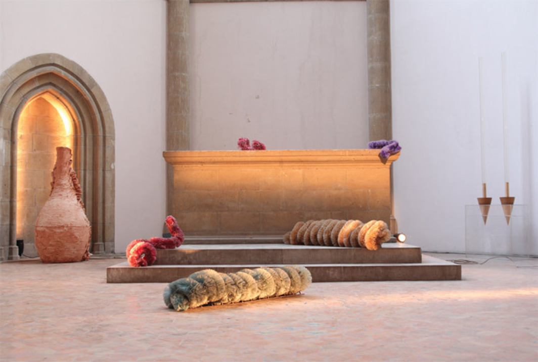 "View of ""Arte Povera più azioni povere 1968"" (Poor Art Plus Poor Actions 1968), 2011–12, Museo d'Arte Contemporanea Donnaregina, Naples. From left: Giuseppe Penone, Soffio di creta (Breath of Clay), 1978; Pino Pascali, Bachi da setola (Bristle Worms), 1968; Mario Merz, Lance (Spears), 1966. Photo: Nicola Baraglia."