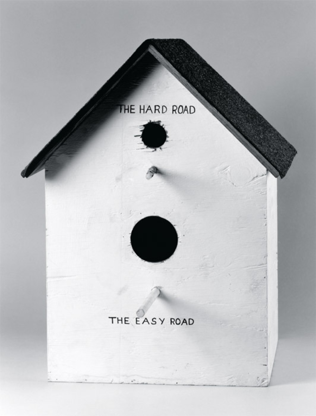 "Mike Kelley, Catholic Birdhouse (detail), 1978, two parts, house: painted wood, composite shingles, 22 x 18 1/2 x 18 1/2""; title drawing: ink on paper, 9 1/2 x 6""."