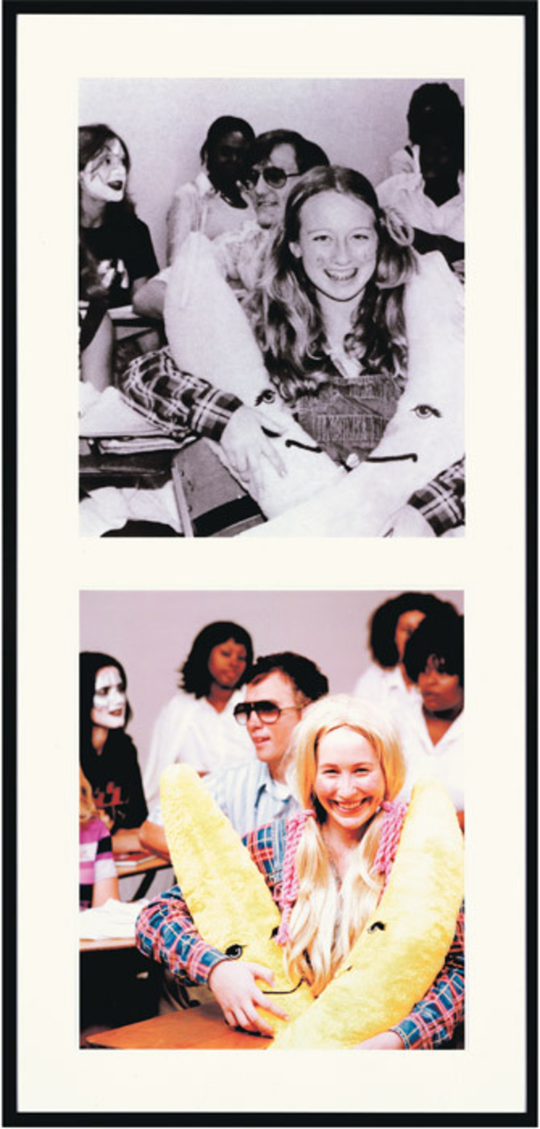 "Mike Kelley, Extracurricular Activity Projective Reconstruction (Singles Mixer) #8, 2005, two parts, one found black-and-white and one color photograph, each 30 x 25""."