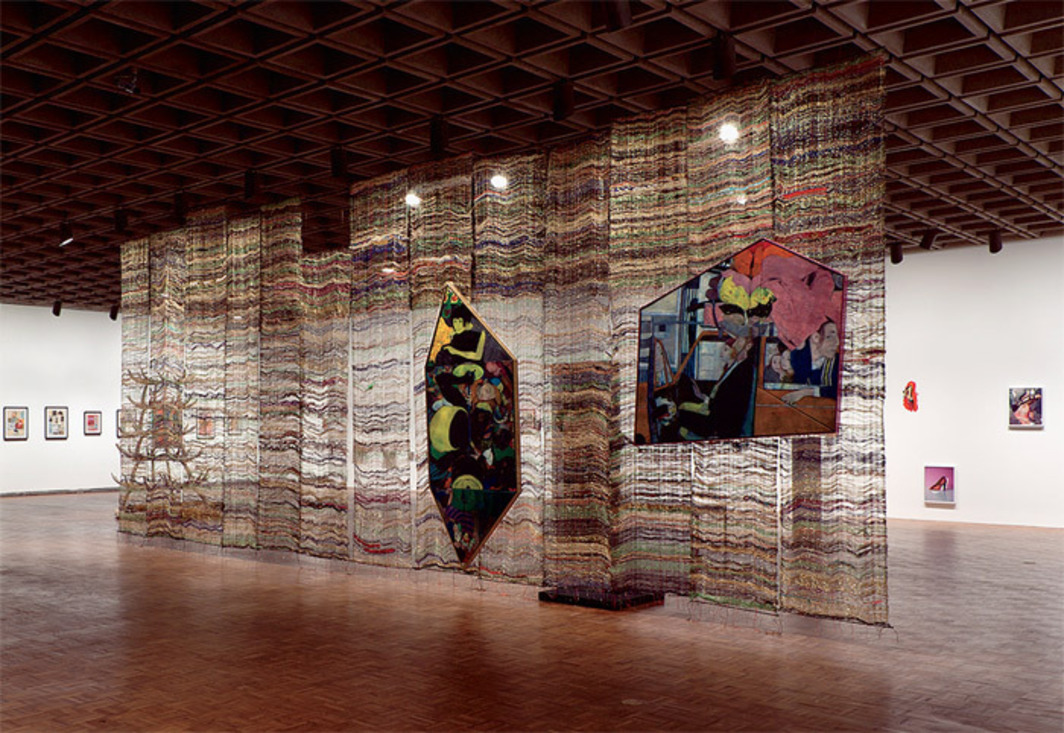 "View of ""Whitney Biennial 2012,"" Whitney Museum of American Art, New York, 2012. From left: Richard Hawkins, Ankoku 10 (Index Labyrinth), 2012; Richard Hawkins, Ankoku 9 (Index World of Flower), 2012; Richard Hawkins, Ankoku 1 (Introduction), 2012; Kai Althoff, Untitled, 2012; Kai Althoff, Untitled, 2011; Kai Althoff, Untitled, 2011; K8 Hardy, #1–#7, 2011; K8 Hardy, Appurtenance A-1, 2011. Photo: Sheldan Collins."