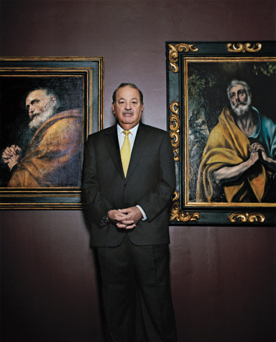 "*Livia Corona, _Carlos Slim, world's richest man, with two paintings from his collection. Mexico City_, 2010*, color photograph, 3 1/2 x 2 1/2"". From the series ""_Fotos Finas_"" (Fine Photos), 2000–."