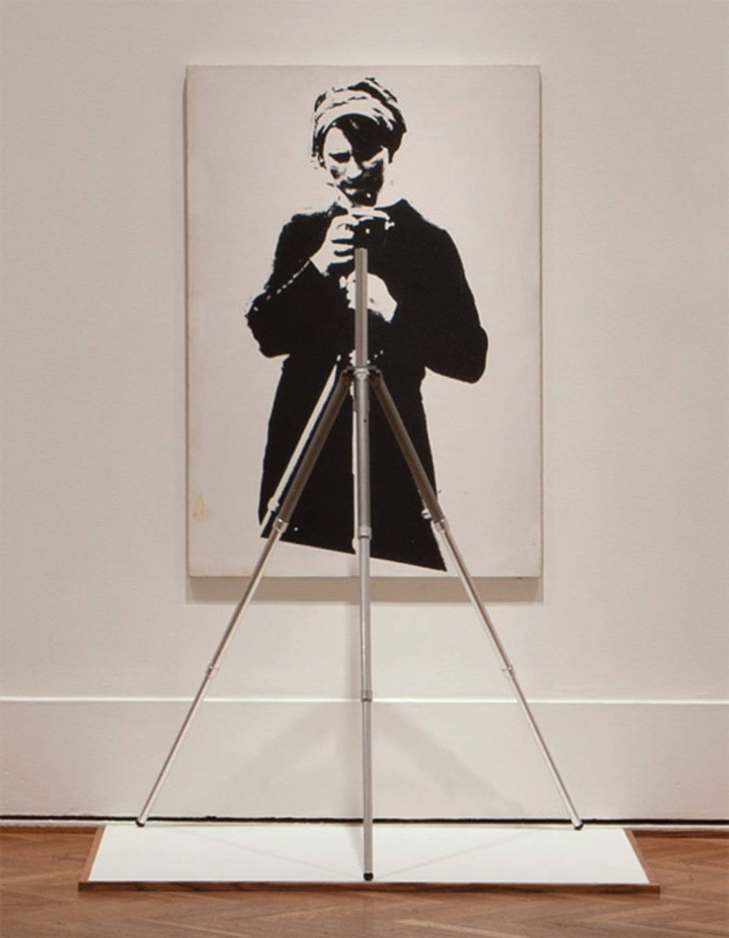 "Marcel Broodthaers, Portrait of Maria Gilissen with Tripod, 1967, gelatin silver emulsion on canvas with tripod, approx. 66 x 43 x 24"". From ""Light Years: Conceptual Art and the Photograph, 1964–1977."""
