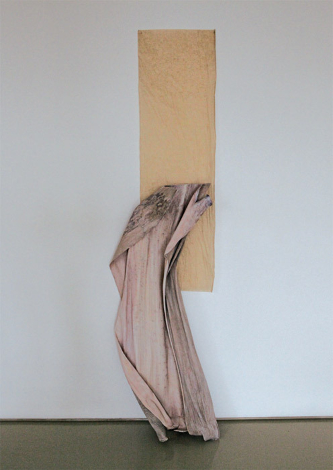 "Gyan Panchal, wedhneumi, 2012, palm tree bark, paint, paper, 80 x 19 5/8 x 9 1/2""."