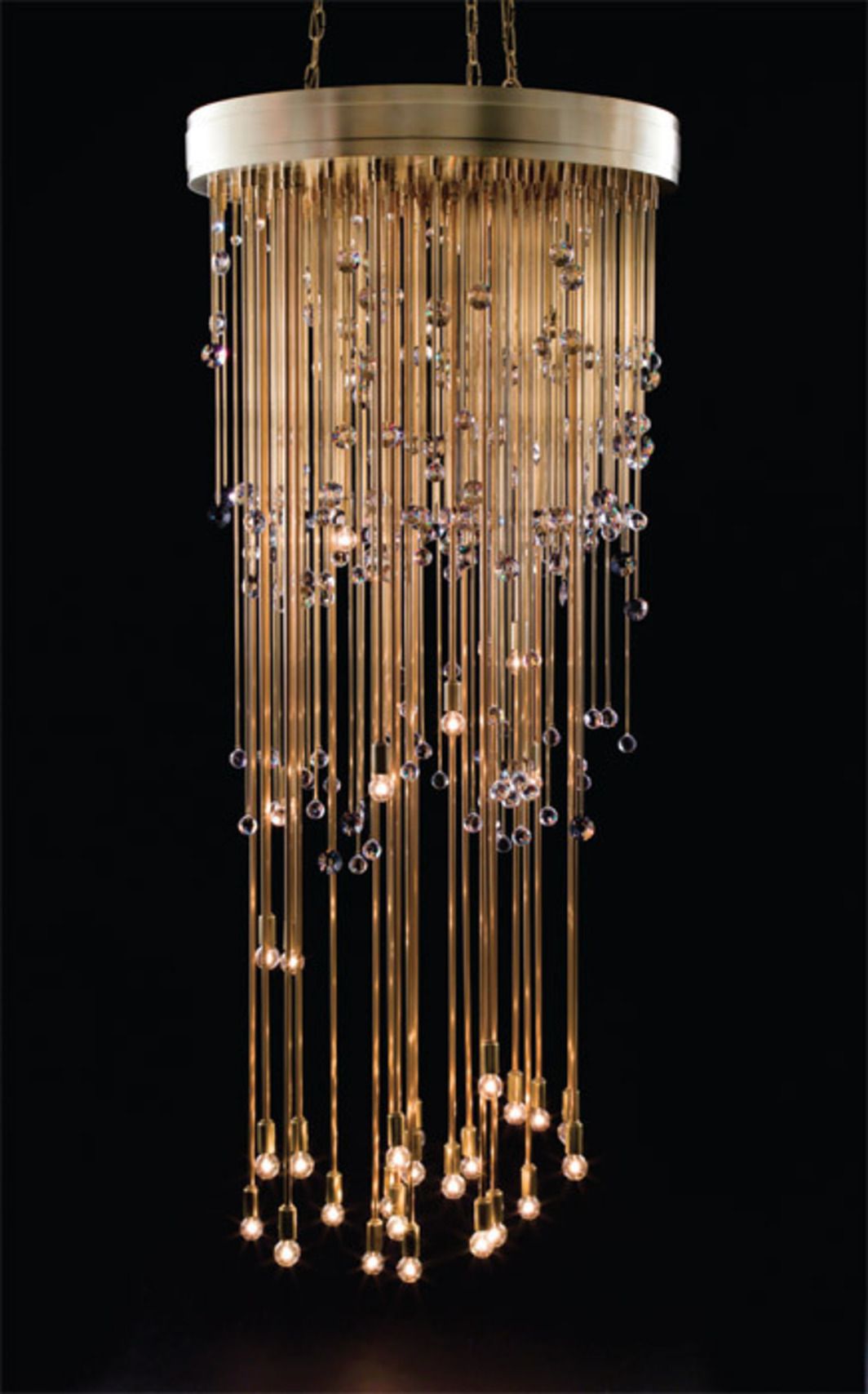 "Josiah McElheny, Study for The Center Is Everywhere (detail), 2012, cut lead crystal, electric lighting, hand-bound book; chandelier 32 x 84 x 32"", book 7 x 10""."