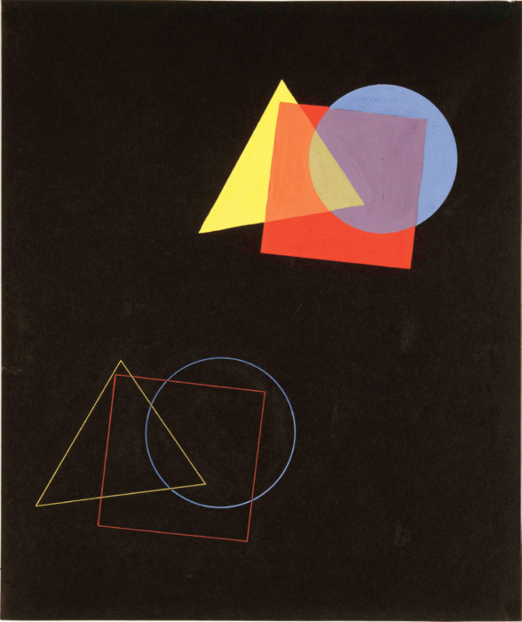 "Eugen Batz, The Spatial Effect of Colors and Forms, 1929, tempera, pencil on paper, 15 1/2 x 13"". From ""Bauhaus: Art as Life."""