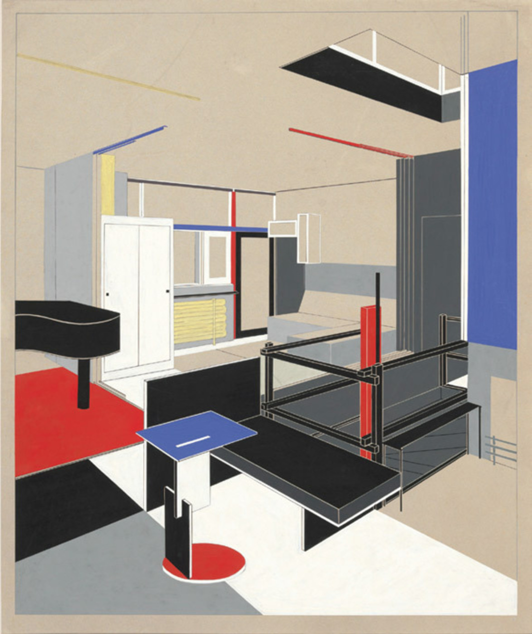 "Gerrit Rietveld, Rietveld-Schröder House, 1924, Utrecht, the Netherlands, rendering showing girl's sleeping area, 1951, collotype on paper, 19 1/4 x 25 1/2""."