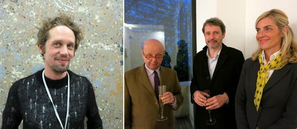 Left: Dealer Johan Berggren. Right: Collectors Karel and Martine Hooft with Lorenzo Benedetti, director of De Vleeshal.