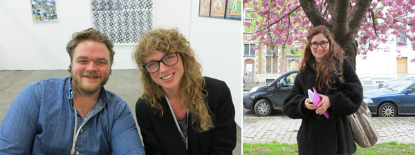 Left: Nick Koenigsknecht and Margherita Belaief of Peres Projects. Right: Artist Magda Amarioarei.