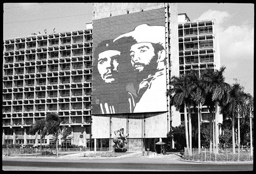 "Martha Rosler, Plaza de Revolucion, Havana, 1981, black-and-white photograph, 11 x 16 1/4""."