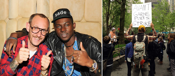 Left: Photographer Terry Richardson and Theophilus London. (Photo: Billy Farrell Agency) Right: A protester at Madison Square Park.