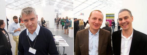 Left: Dealer Daniel Buchholz. Right: Architect Florian Idenburg and New Museum curator Masimilliano Gioni.