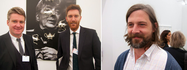 Left: Dealers Toby Webster and Andrew Hamilton. Right: Artist Roe Ethridge.