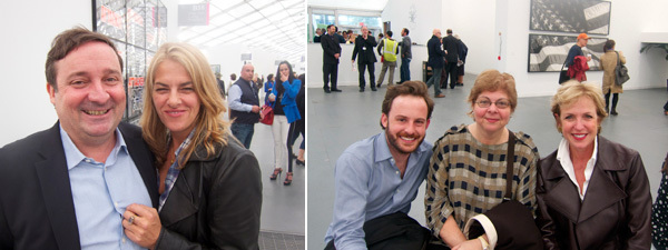 Left: ICA London director Gregor Muir and artist Tracey Emin. Right: Whitney Museum curators Scott Rothkopf and Donna De Salvo with Whitney trustee Fern Tessler.