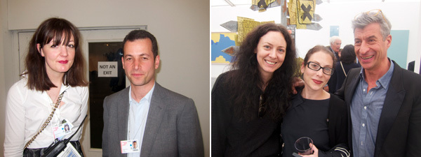 Left: Frieze Art Fair communications director Belinda Bowring with Frieze cofounder Matthew Slotover. Right: Dealer Maggie Kayne, curator Ali Subotnick, and artist Maurizio Cattelan.