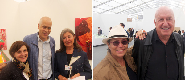 Left: MoMA curator Laura Hoptman with collector A. C. Hudgins and dealer Victoria Miro. Right: Collectors Don and Mera Rubell.