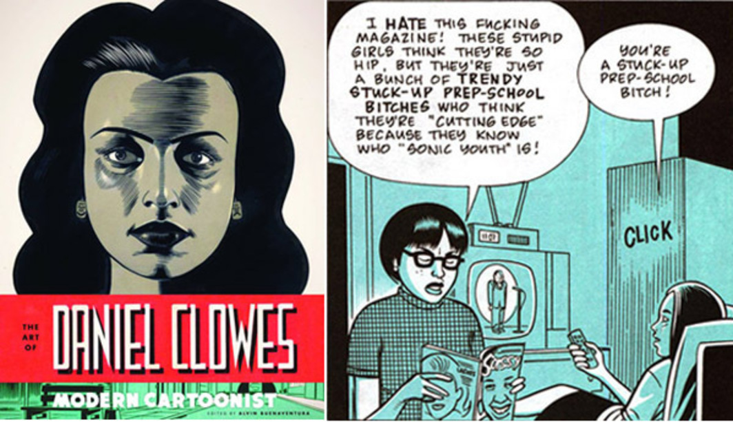 Left: Cover of Modern Cartoonist: The Art of Daniel Clowes (2012). Right: Enid and Rebecca in Ghost World (1997).