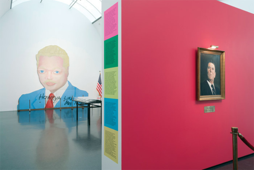 "View of ""This Will Have Been: Art, Love & Politics in the 1980s,"" 2012. From left: David Hammons, How Ya Like Me Now?, 1988; Hans Haacke, Ölgemälde, Hommage à Marcel Broodthaers (Oil Painting, Homage to Marcel Broodthaers), 1982. Photo: Nathan Keay."