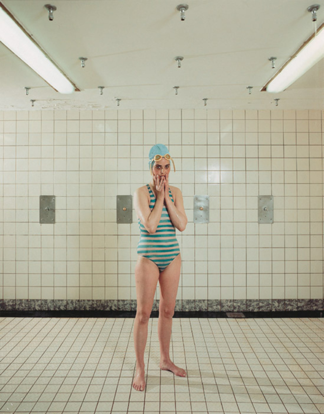 "Rineke Dijkstra, Self-portrait, Marnixbad, Amsterdam, the Netherlands, June 19, 1991, color photograph, 24 7/16 x 20 1/2""."
