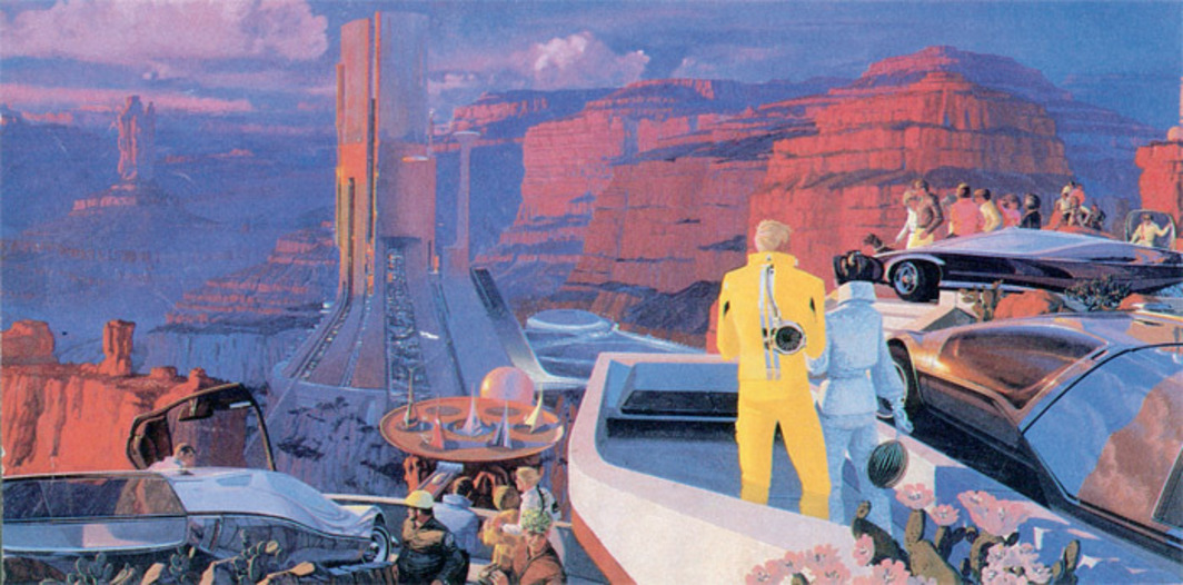 "Syd Mead, Megastructure, ca. 1969, publicity rendering of future cities and vehicles for United States Steel, 11 1/4 x 27 1/8""."