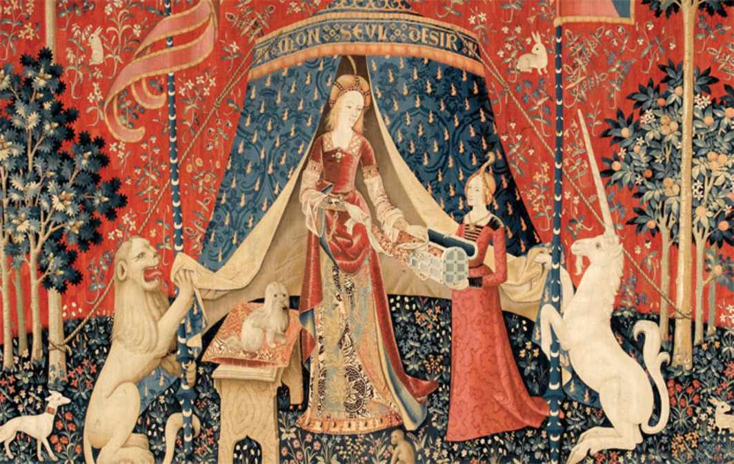 "Artist unknown, À Mon Seul Désir (To My Only Desire) (detail), ca. 1484–1500, wool, silk, approx. 12 x 15'. From the series ""La Dame à la licorne"" (The Lady and the Unicorn), late fifteenth century."