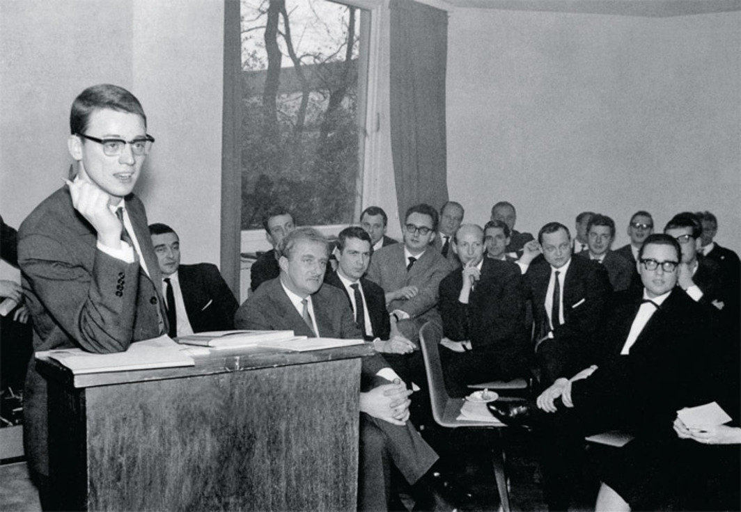Alexander Kluge presenting the Oberhausen Manifesto at a press conference during the International Short Film Festival Oberhausen, Germany, February 28, 1962.