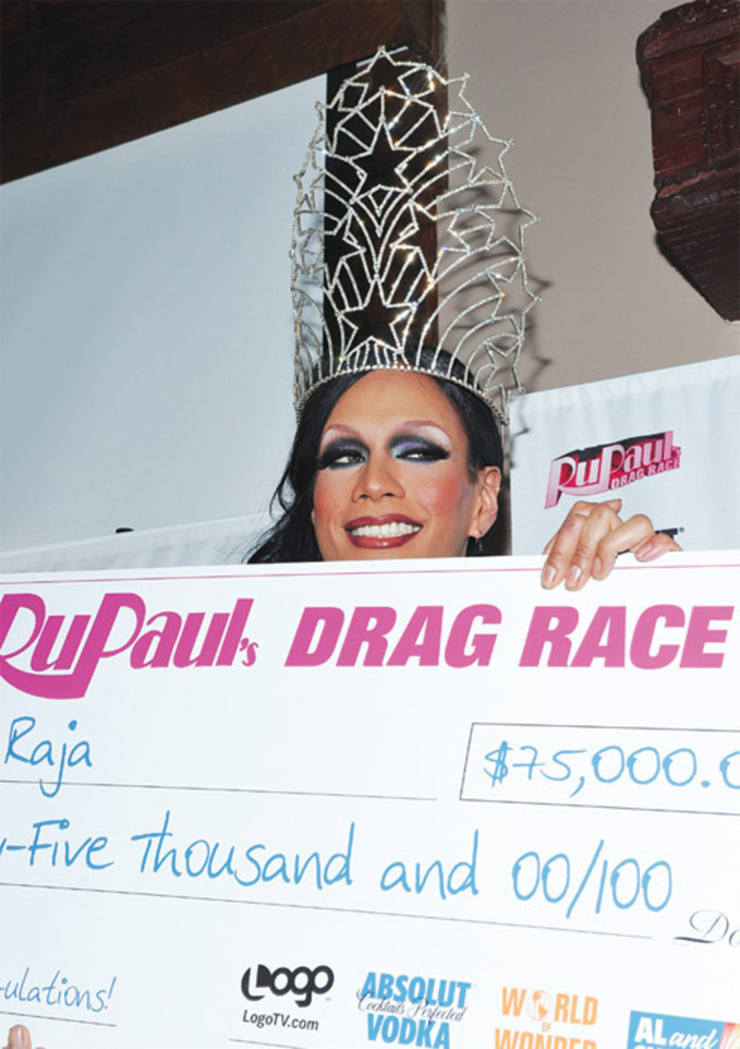 *Raja, winner of the third season of _RuPaul's Drag Race_, April 25, 2011*, New York. Photo: Mike Coppola/Getty Images.