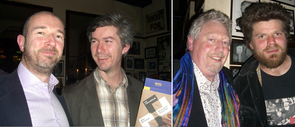 Left: Caoimhin Corrigan and Static Liverpool's Paul Sullivan. Right: Mike Fitzpatrick and artist Paddy Bloomer. (Photos: Gemma Tipton)