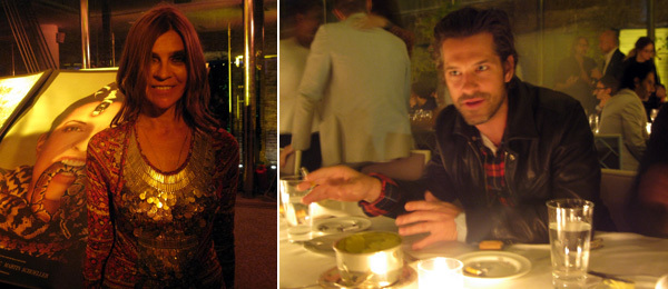 Left: Carine Roitfeld. Right: Aaron Young at the Visionaire Larger than Life gala dinner.
