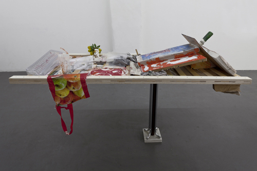 Henrik Olai Kaarstein, Catch, Fall, Tonight, 2012, mixed media on wooden bed base and stand, dimensions variable.