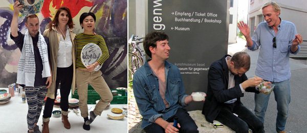 Left: Artist Matthew Lutz-Kinoy (left) and Pompidou chief curator Christine Macel (center). Right: Mousse publishing director Stefano Cernuschi, Stuart Comer, and dealer Peter Currie. (Photos: Quinn Latimer)