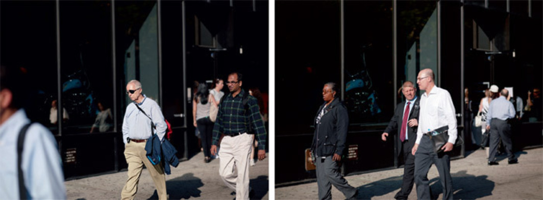 "Paul Graham, Vesey Street, 25th May 2010, 5.51.05 PM, diptych, color photographs, overall 4' 8"" x 12' 4 1/2""."