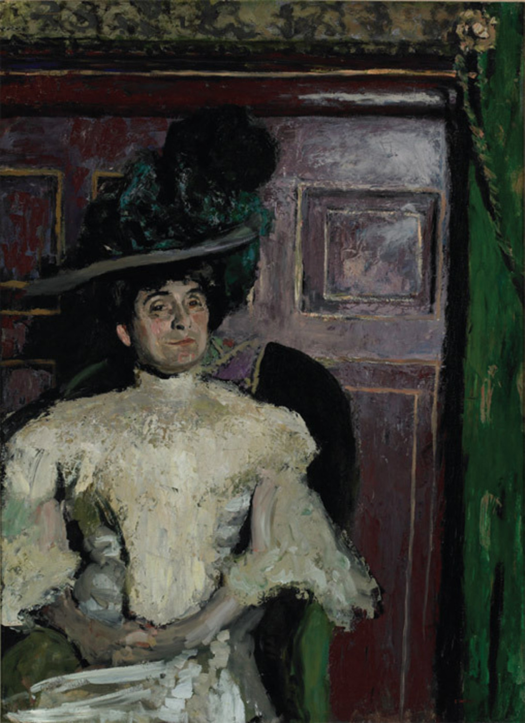 "Édouard Vuillard, Woman in a Green Hat (Madame Hessel), ca. 1905, oil on cardboard, 42 1/2 x 30 3/4"". From ""In the Still Epiphany."""