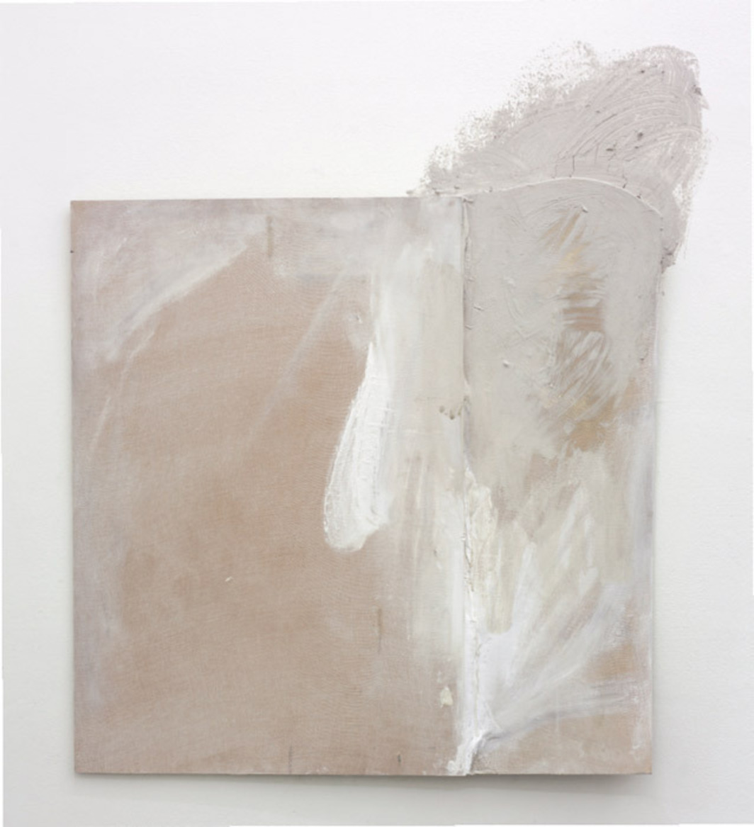 "Lydia Gifford, Rest, 2012, house paint, clay, gauze, wood, pigment, beeswax, chalk, 50 3/8 x 42 1/2 x 2""."